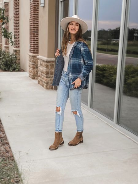 **sizing: shacket- small (it's a little short in the arms, I like the medium better) | bodysuit- xs |jeans- 3, I sized up one | boots- 8 | Reversible shacket. Walmart outfit. Walmart fashion. Walmart boots. Walmart mom jeans. Chelsea boots. Wide brim hat  #ltkunder30 #shacket #reversibleshacket #affordable #fallfashion #lugboot #chelseaboot #walmartfinds @walmart @walmartfashion     #LTKSeasonal #LTKstyletip #LTKunder50