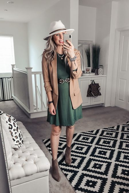 The best $13 swing dress! It has pockets and is a great length ❤️ styled it with this blazer and fall accessories! Small dress M blazer    http://liketk.it/2YrxA #liketkit @liketoknow.it #LTKsalealert #LTKunder50 #LTKstyletip