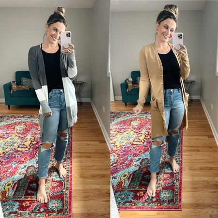 Amazon finds! Both of these cardigans are perfect for fall and both are prime day deals! This beige one would be perfect for the office, also linked my black tank top and Levi's!   #LTKworkwear #LTKunder50 #LTKshoecrush