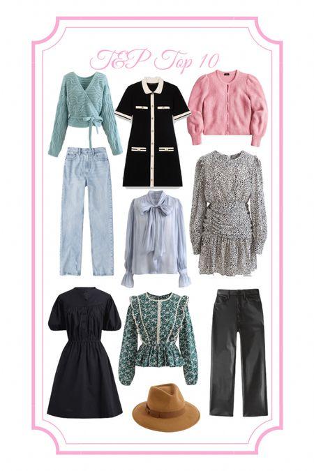 Black leather pants, leather pants, cheetah, leopard dress, fall dress, long sleeve dress, tie neck top, tweed dress, ruffle top, printed dress, black dress, lbd, wool hat, felt hat, wrap sweater, cropped sweater, pink sweater, light wash jeans, Abercrombie jeans   #LTKbacktoschool #LTKfit #LTKSeasonal