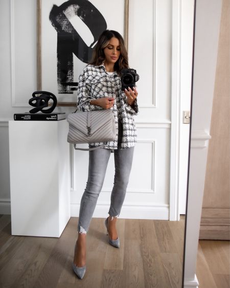Fall outfit ideas  Goodnight Macaroon take 40% off with code MARIA40 now Plaid shacket  Express gray jeans wearing a 23 Saint Laurent college bag   #LTKunder100 #LTKsalealert #LTKunder50