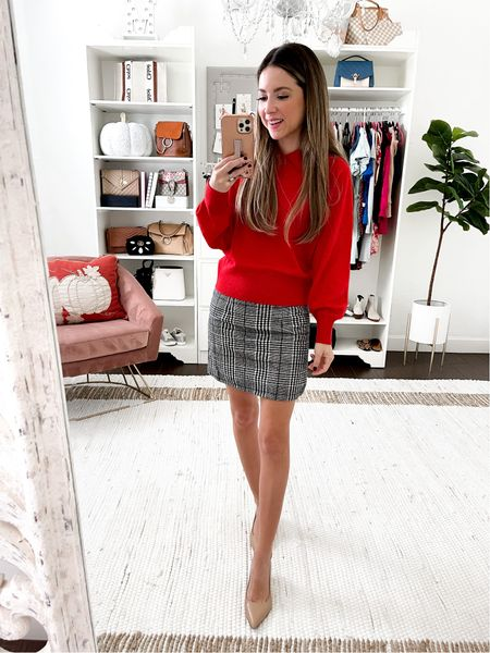 Holiday red sweater small Plaid skirt small