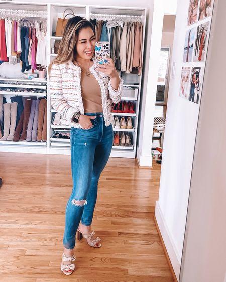 Business casual work outfit  Tweed blazer - 00P  Amazon fashion knit ribbed bodysuit - S High waisted skinny jeans - 00P  @liketoknow.it #liketkit http://liketk.it/3gX7a #LTKworkwear #LTKunder100 #LTKstyletip
