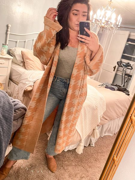 Messy bedroom & poor lighting but this cozy sweater was too good not to share! It's legit like wearing a blanket on this cold rainy day here in Michigan!   #LTKunder50 #LTKSeasonal #LTKcurves