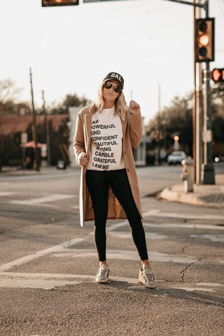 Anine Bing sweatshirt with faux leather leggings, golden goose and a camel coat 🖤  #LTKstyletip #LTKSeasonal #LTKunder100