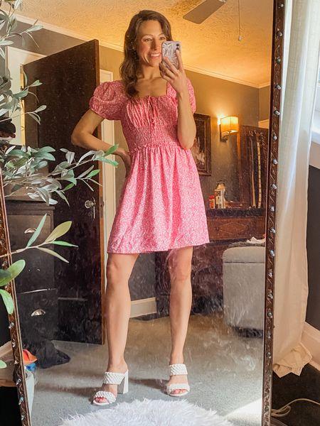 #LTKunder100 #LTKshoecrush #LTKstyletip wearing a S - fits TTS // pink dress // floral dress // spring dress // summer dress // summer outfit // white sandal http://liketk.it/3huvJ #liketkit @liketoknow.it