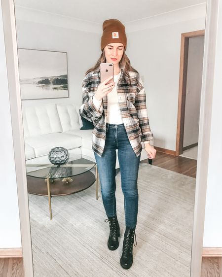 Trend of the year - Plaid Shacket (or shirt jacket) styled with beanie, favorite jeans and lace up black boots. #plaidshacket #carhartt #laceupbooties #winteroutfit #liketkit  . . SHOP MY LOOK: 1️⃣ Use this link: http://liketk.it/36oJL  2️⃣ Download and follow me (@dailystylefinds) on the FREE @liketoknow.it app 3️⃣ Screenshot this photo 4️⃣ Click the link in my profile