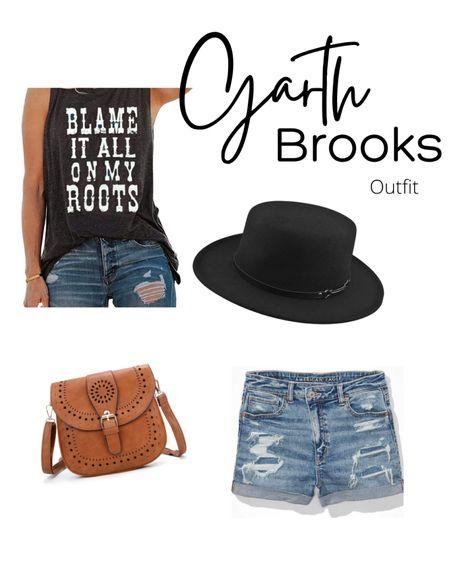 Garth Brooks concert, country concert outfit, graphic tank, amazon finds, women's hats, felt hat, American Eagle finds, mom shorts, distressed shorts, boho style.   http://liketk.it/3k2MA #liketkit #LTKstyletip #LTKsalealert #LTKunder50 @liketoknow.it