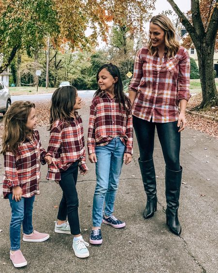 Twinning is winning.  My girls begged to get these matching tops, and I will relish in them wanting to match their mama for as long as humanly possible.  These plaid tops and all of my littles' shoes are 40% off right now (plus everything on the site)! They have some super cute winter and holiday attire out right now too.  - -   http://liketk.it/2GUrL #liketkit @liketoknow.it #LTKfamily #LTKkids #LTKunder50 #LTKsalealert @liketoknow.it.family #twinning #mommyandmeoutfit #matchingoutfits