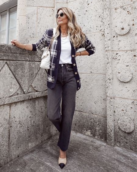Cozy plaid cardigan for fall, high waisted RE-Done denim, YSL fabric textured bag, pointy toe mules, Her Fashioned Life  #LTKstyletip #LTKSeasonal