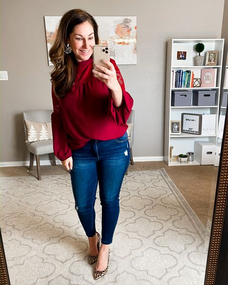 Lace blouse true to size, medium // Jeans size down I'm in a 10 petite but the 10s also fit // pumps true to size http://liketk.it/2I5gq @liketoknow.it #liketkit #LTKholidayathome #LTKholidaystyle #LTKcurves