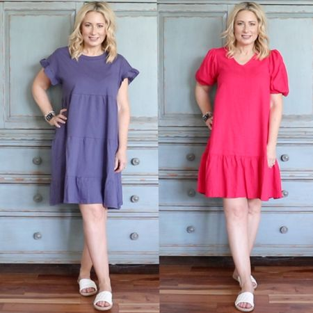 #sponsored Red or blue? At these prices you can get both! The blue dress is lightweight and flowy and perfect for everyday while the red dress is a crisp linen/poplin that can be dressed up or down. Both are perfect for summer days and nights. Wearing size XS in both for reference (size down). #walmart #walmartfashion #summer #summerdress #linendress #weddingguestdress #fashionover40 #over40style   #LTKstyletip #LTKwedding #LTKunder50