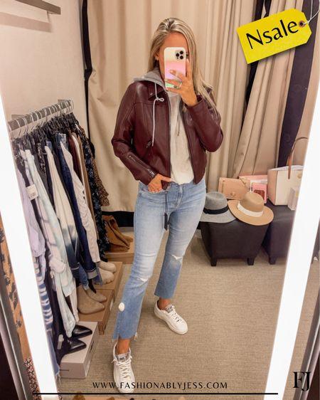 My jacket is still in stock! Love this look for fall  #nsale Fall style Vegan leather Moto jacket   #LTKsalealert #LTKunder100 #LTKstyletip