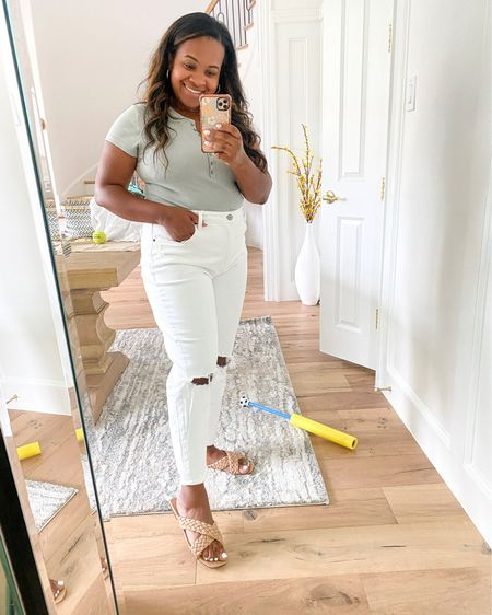 Abercrombie mom jeans and bodysuit 20% off with LTK sale. And shoes 15% off with code Taryn15 @liketoknow.it #liketkit http://liketk.it/3hsO4 #LTKsalealert #LTKunder100