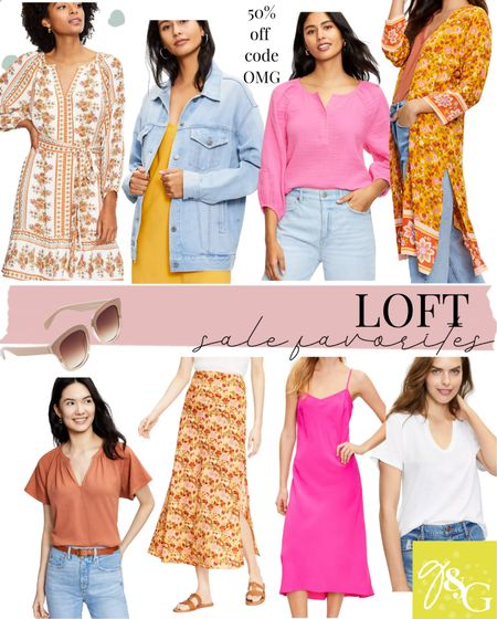 LOFT SALE // 50% off your purchase with code OMG // denim jacket, floral skirt, kimono, slip dress, floral dress   #LTKunder50 #LTKsalealert #LTKunder100