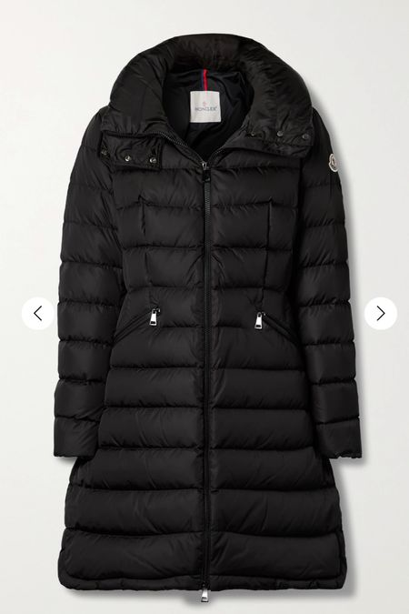 Mom on the run this winter, perfect Moncler coat.