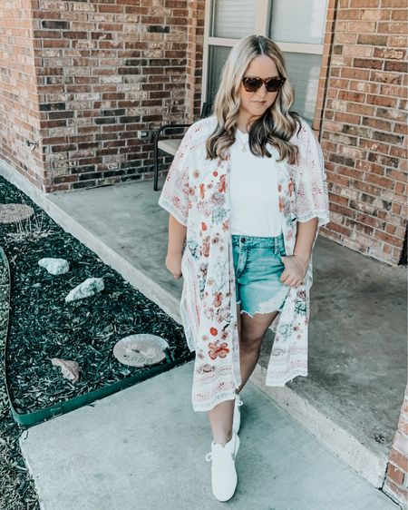 Kimono one size Shorts size 14W tts Shirt size large tts Shoes size down 1/2 size @liketoknow.it #liketkit http://liketk.it/3avnZ #LTKcurves #LTKunder50 #LTKstyletip