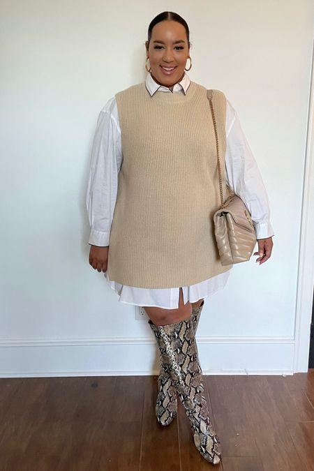 Loving this sweater vest and snakeskin boots   #LTKSeasonal #LTKcurves