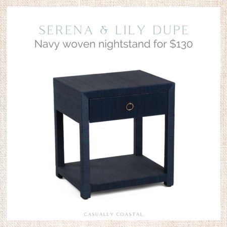 """Only four left! Just $130, this is a great alternative to Serena & Lily's Blake Raffia nightstand, which retails for $998. Use code """"SHIP89"""" for free shipping. - coastal decor, beach house decor, beach decor, beach style, coastal home, coastal home decor, coastal decorating, coastal interiors, coastal house decor, home accessories decor, coastal accessories, beach style, blue and white home, blue and white decor, neutral home decor, neutral home, natural home decor, blue nightstand, navy nightstand, serena & lily dupe, raffia nightstand, affordable nightstand, coastal bedroom furniture, coastal nightstand, coastal side table, navy side table  #LTKstyletip #LTKhome #LTKfamily"""