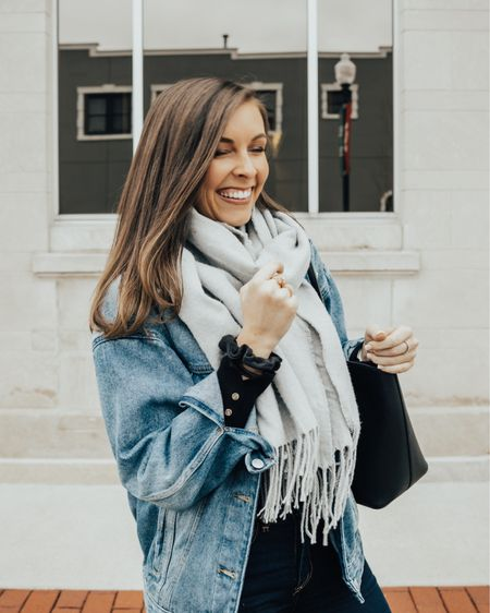 *Puts on over sized denim jacket and high waisted jeans* Instantly feels like a 90s mom. Even got the scrunchie.  • •  http://liketk.it/33S0e #liketkit @liketoknow.it