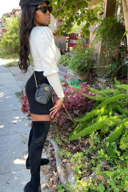 Fall fashion outfit inspo, sweater, skirt, otk boots, designer handbag,  #LTKstyletip #LTKSeasonal