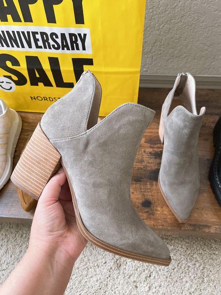 Steve Madden Ankle Boots in Grey/Suede | 1/2 size up | Nordstrom anniversary sale   #LTKshoecrush #LTKsalealert #LTKunder100