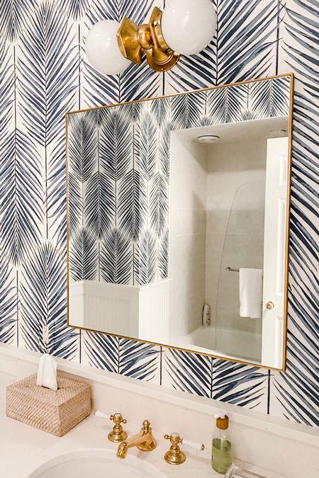 Bathroom wallpaper and renovation details - square mirror sconce http://liketk.it/3jYhB #liketkit @liketoknow.it   #LTKhome #LTKstyletip #LTKunder100