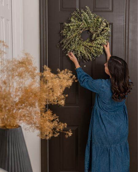 Gorgeous eucalyptus wreath, perfect for Holiday decor! Also loving this shirt denim dress    #LTKHoliday #LTKstyletip #LTKSeasonal