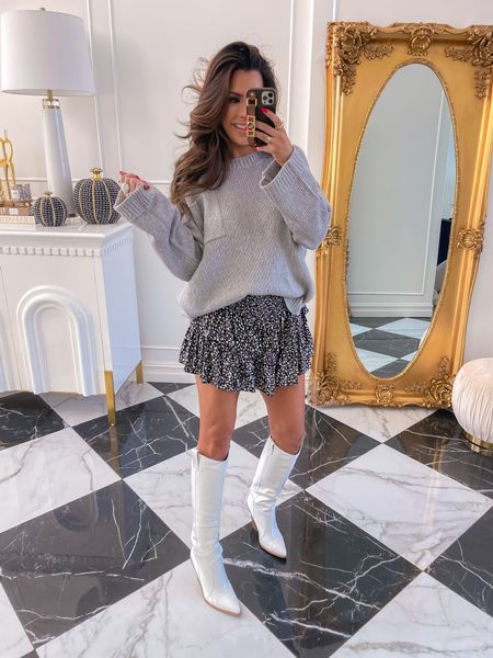 Fall Outfit Ideas, Fall Sweater, Fall Skirt, Fall Boots, Grey Sweater, Fall Fashion, Red Dress Boutique Picks, Fall Try On Haul, Emily Ann Gemma, Fall Date Night Outfit http://liketk.it/3owAr
