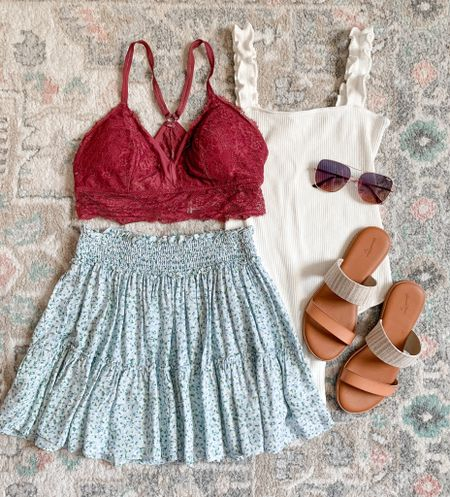 4th of July outfit Floral skirt Amazon fashion Bodysuit Bralette   #amazonfashion #bodysuit #skirt #floralskirt #bralette #sandals #fourthofjulyoutfit #4thofjulyoutfit  #LTKunder100 #LTKunder50 #LTKSeasonal