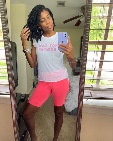 Summer style: Hot mom summer tee + Hot pink biker shorts + Butterfly earrings http://liketk.it/3kbIM #liketkit @liketoknow.it #LTKstyletip #LTKunder100 #LTKfit
