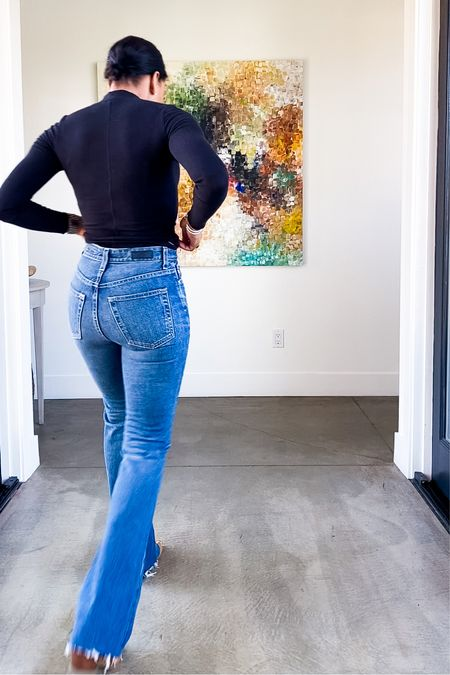 Flare denim, cropped turtleneck, boots. TTS in clothes, boots size up 1/2 size.