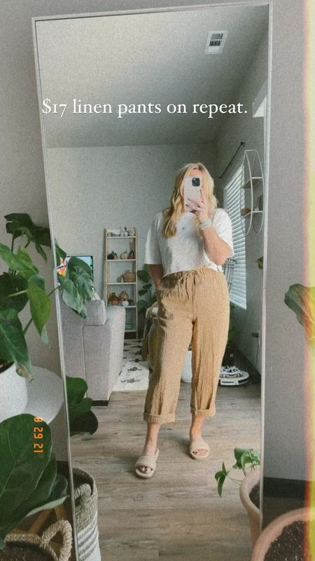 Linen pants under $20 ! Great fall transition piece H&M try on Caramel colors  Ankle length Straight leg  #LTKunder50 #LTKSeasonal #LTKstyletip