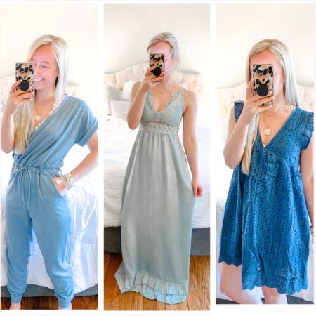 Blue romper, blue jumpsuit, sage green maxi dress, spring wedding guest outfits #liketkit @liketoknow.it http://liketk.it/39Rra #LTKunder50 #LTKstyletip size small