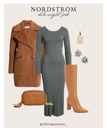 Date night look in head-to-toe Nordstrom. 🍂  Fall fashion, dress, midi dress, coat, boots, knee high boots, earrings, necklace  #LTKSeasonal #LTKunder100 #LTKunder50