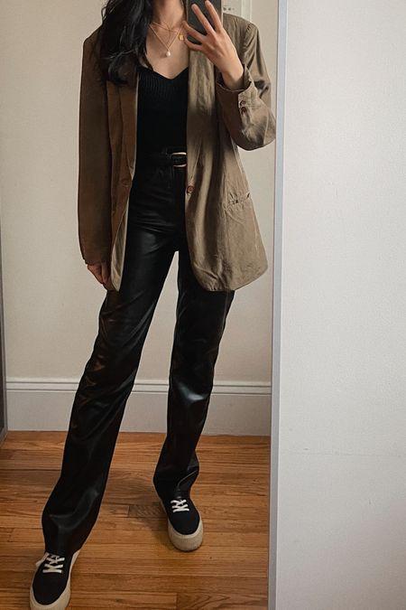 Leather pants, fall outfit, bodysuit, fall look, leather trousers  #LTKunder100 #LTKsalealert #LTKunder50