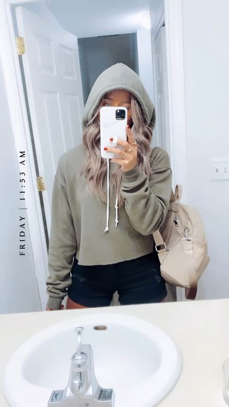 Hoodie : large Shorts : 2  Best backpack everrrrrr I use it as a purse/diaper bag . SO much organization 😍😍😍    #LTKbaby #LTKtravel #LTKstyletip