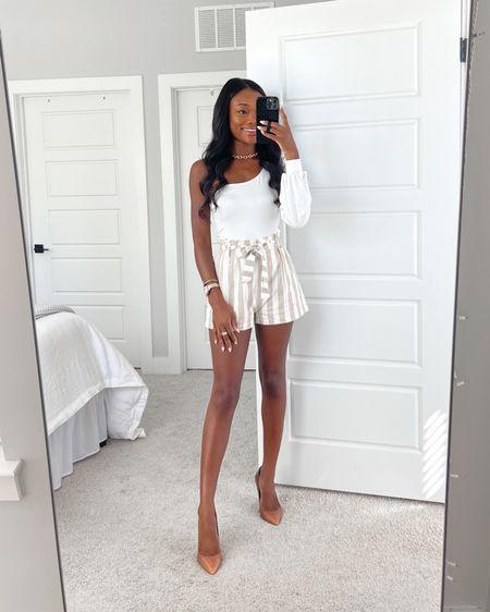 White Bodysuit, Striped Shorts, Summer Outfit —CODE: 'BRENNA15' for 15% off ✨ @liketoknow.it #liketkit http://liketk.it/3hSTO #LTKunder50 #LTKstyletip #LTKshoecrush