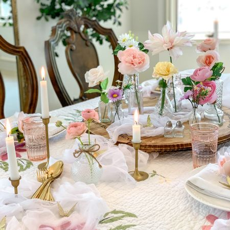 An easy yet elegant, charming table styling perfect for spring through summer!🌿🌿🌸  Romantic Tablescape with Flowers and Gold Flatware and Pink Depression Glass (style) Glassware!   Target Finds, World Market Finds  #LTKunder100 #LTKunder50 #LTKhome http://liketk.it/3eNPX @liketoknow.it.home #liketkit @liketoknow.it Follow me on the LIKEtoKNOW.it shopping app to get the product details for this look and others