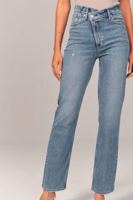 High rise straight leg jeans   #LTKSeasonal #LTKunder100 #LTKHoliday