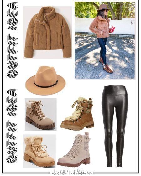 Outfit idea for winter or fall : puffer jacket size xxs on sale, spanx leggings size xs petite uS code doubledosexspanx, size 7 hiker boots http://liketk.it/30FDU #liketkit @liketoknow.it #LTKunder100 #LTKunder50 #LTKsalealert