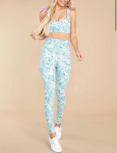 Blue leggings and sports bra; activewear   #LTKfit