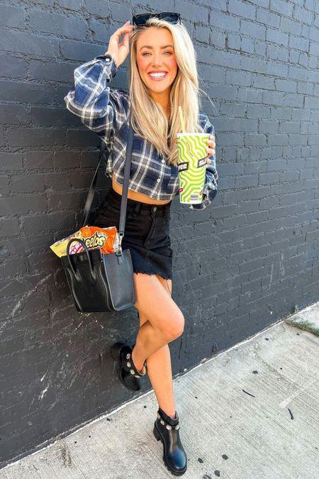 Fall warmer weather look  Crop flannel  Black Jean skirt  Combat boots    #LTKstyletip #LTKunder100 #LTKunder50