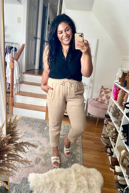 LOFT linen set is 40% off. XL in the top, L on the bottom #liketkit #LTKcurves #LTKunder50 #LTKstyletip  http://liketk.it/3hp63    @liketoknow.it   Loft, loftimist, size 12, size 14, midsize, mid size, vacation outfit, linen, summer outfit, summer dress, lightweight, plus size, espadrille, espadrilles, target, target fashion, target style