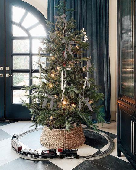 Christmas Tree, Ribbon, Train Set, Amazon Curtains   #LTKHoliday #LTKhome