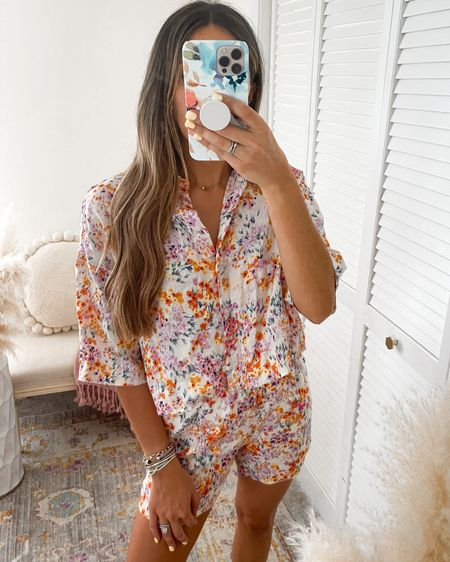 Floral two piece short and button up set  Wearing size S in top and S bottom   http://liketk.it/3k2fh #liketkit @liketoknow.it @liketoknow.it.brasil @liketoknow.it.europe @liketoknow.it.family @liketoknow.it.home #LTKstyletip #LTKtravel #LTKswim #hm