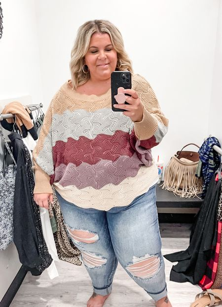This plus size fall outfit is so adorable! Tried on these plus size jeans from Judy Blue and they have great stretch! Love this pretty plus size sweater that comes in lots of colors!   #LTKSeasonal #LTKunder100 #LTKcurves
