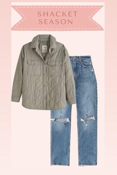 Shacket and jeans from Abercrombie on sale   #LTKSale #LTKstyletip #LTKsalealert