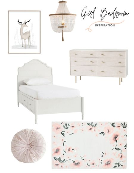 This girl's bedroom inspiration is everything! That area rug is a total statement piece. Shop the kids bed, area rug, dresser, chandelier, and artwork!   #LTKhome #LTKkids #LTKstyletip
