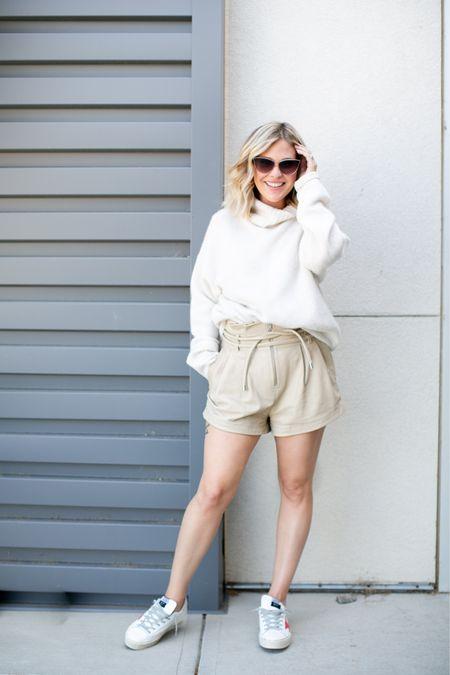 The perfect summer to fall look // oversized turtleneck sweater, high-waisted shorts, statement sneakers, sunglasses ✨  #LTKSeasonal #LTKshoecrush #LTKstyletip